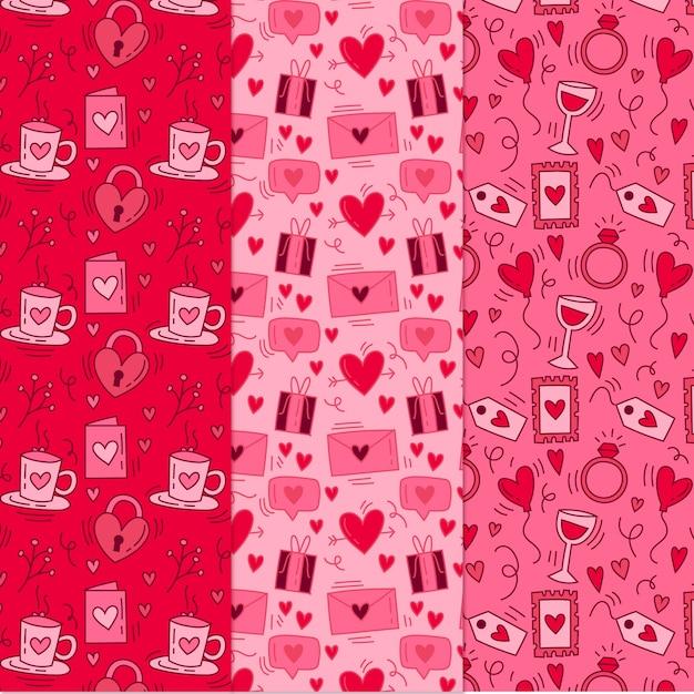 Collection De Motifs De Valentine Dessinés à La Main Vecteur gratuit