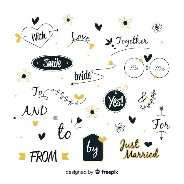 Collection de mots clés de mariage dessinés à la main Vecteur gratuit