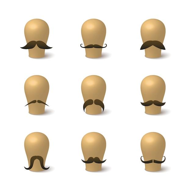 Collection de moustaches hipster sur des chapeaux Vecteur gratuit
