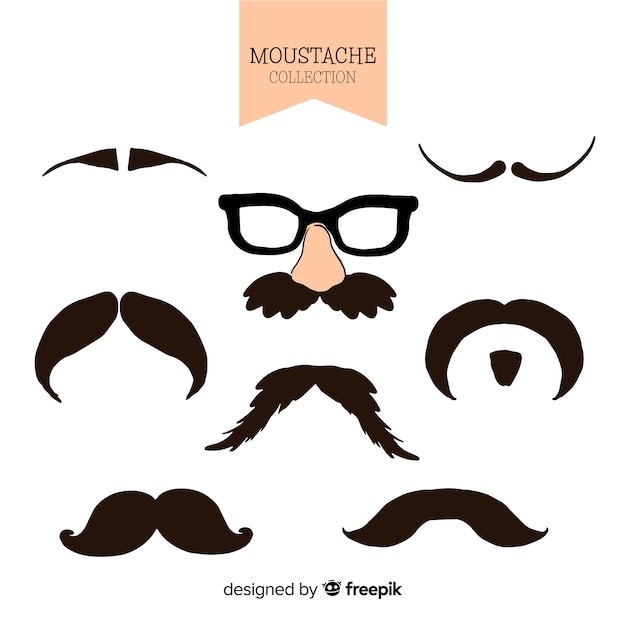 Collection movember de moustache dessinée à la main Vecteur gratuit