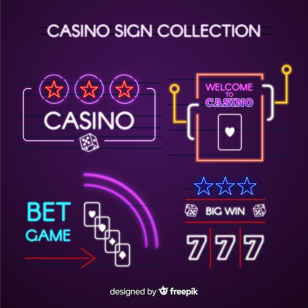Collection de néon de casino Vecteur gratuit