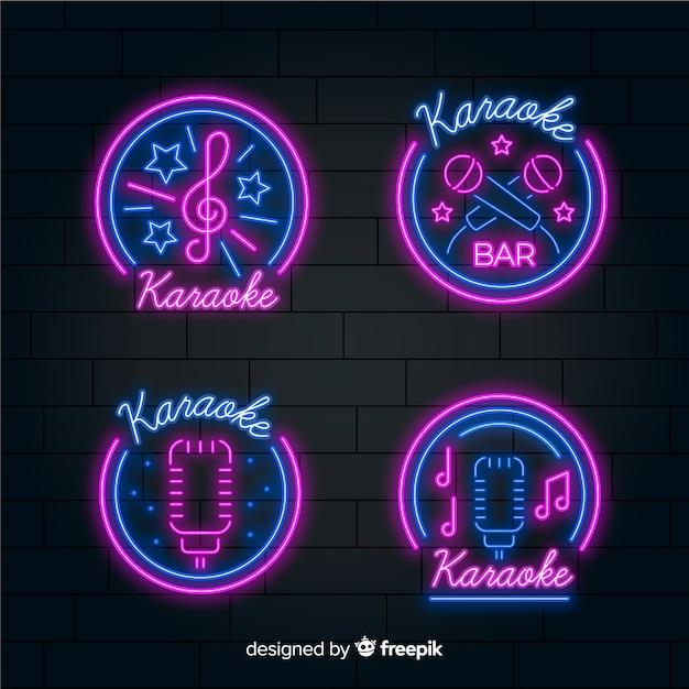 Collection de néons karaoké dessinés à la main Vecteur gratuit