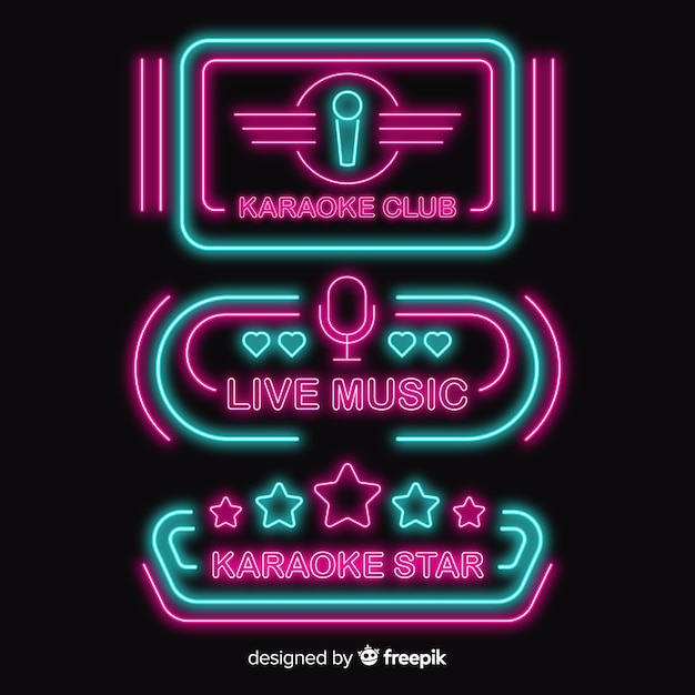 Collection de néons de karaoké Vecteur gratuit