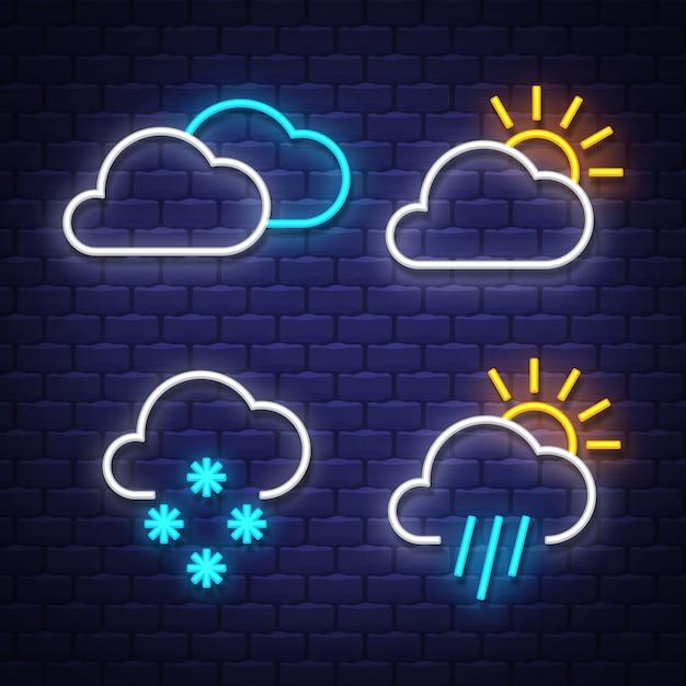 Collection de néons météo. signes météorologiques. enseignes au néon. Vecteur Premium
