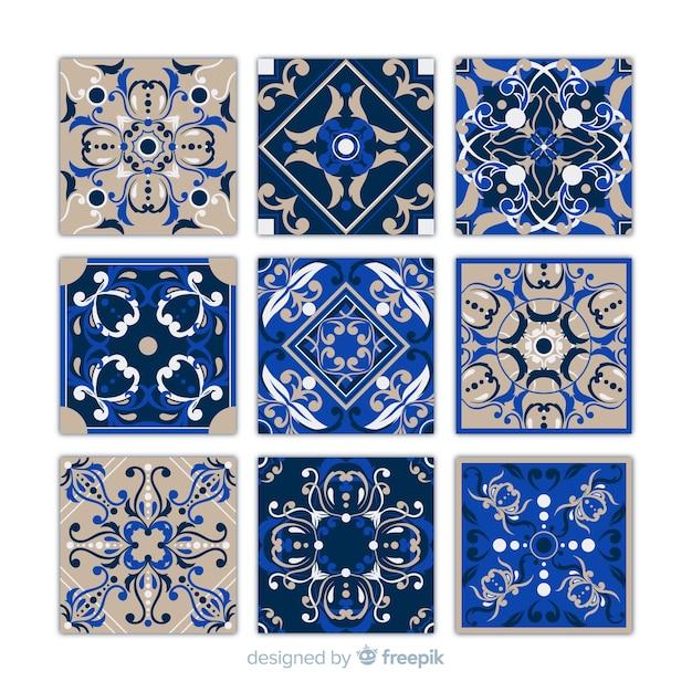 Collection De Neuf Carreaux Bleus Vecteur gratuit