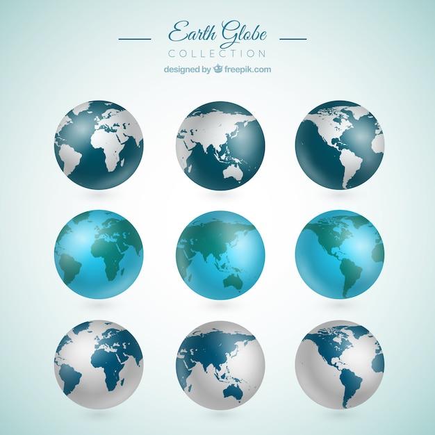 Collection De Neuf Globes Terrestres Réalistes Vecteur gratuit