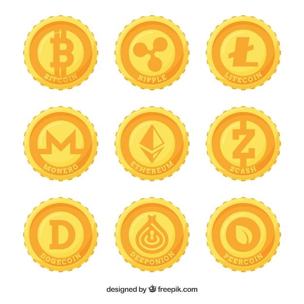 Collection de neuf pièces de cryptomonnaie Vecteur gratuit