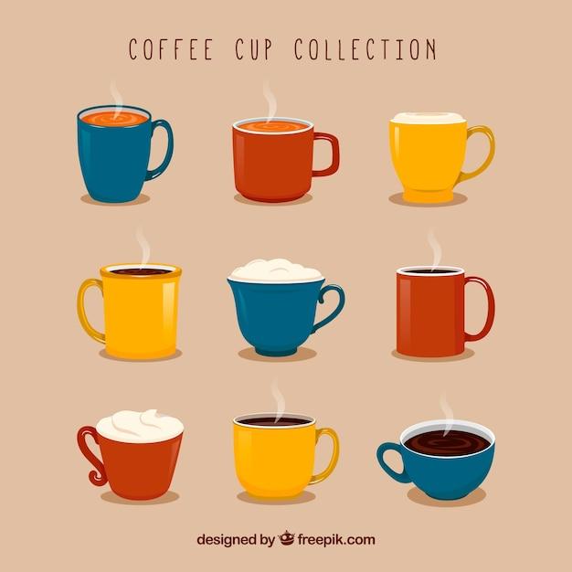 Collection de neuf tasses à café colorés Vecteur gratuit