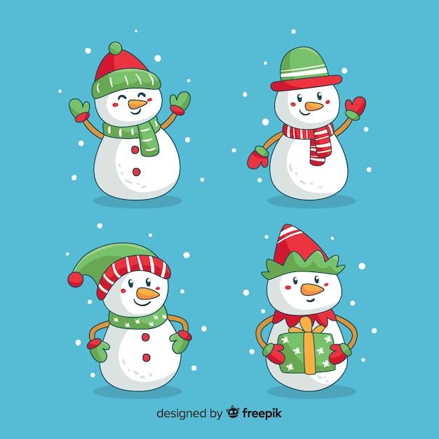 Collection de noël bonhommes de neige mignons dessinés à la main Vecteur gratuit
