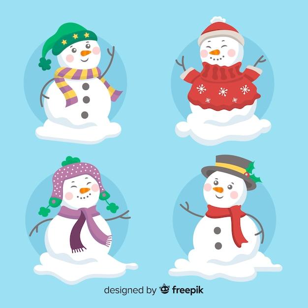 Collection de noël mignon bonhomme de neige au design plat Vecteur gratuit