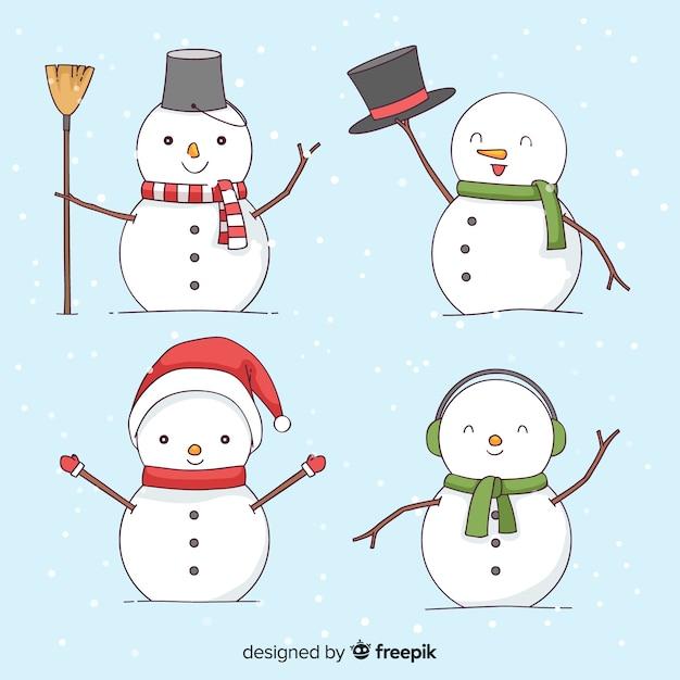 Collection de noël mignon bonhomme de neige dans le style dessiné à la main Vecteur gratuit