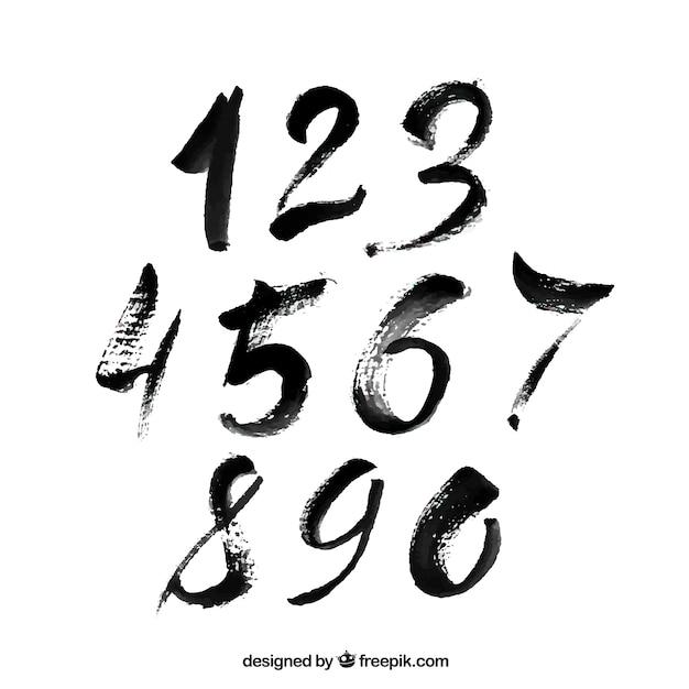 Collection de nombre noir dans le style de craie Vecteur gratuit