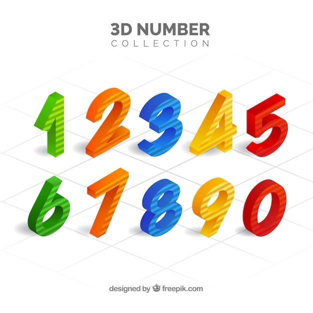 Collection de nombres 3d Vecteur gratuit