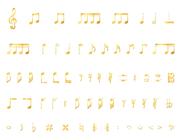 Collection d'une note de musique Vecteur gratuit