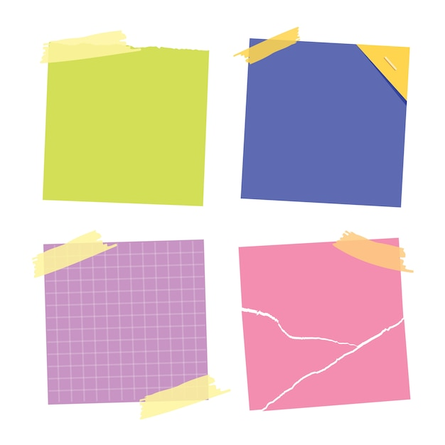 Collection De Notes Autocollantes. Postez-le Pour Mémo De Travail, Rappel Pour Le Faire. Collection D'autocollants En Papier De Bureau. Vecteur Premium