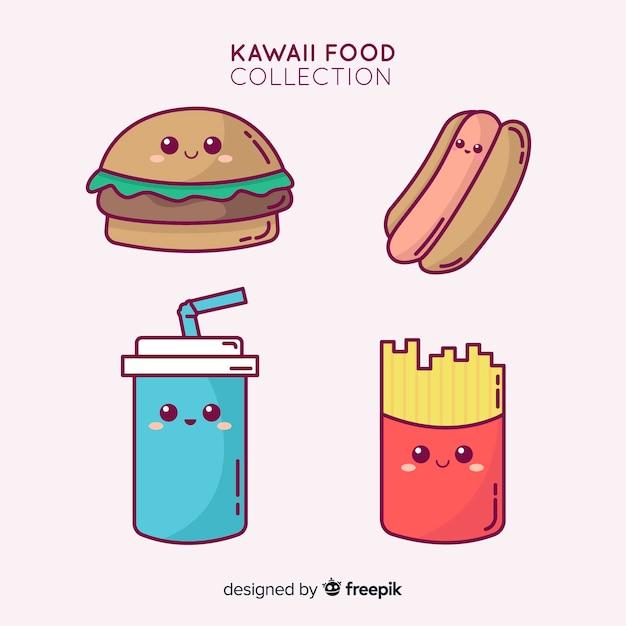 Collection de nourriture adorable dessiné à la main Vecteur gratuit