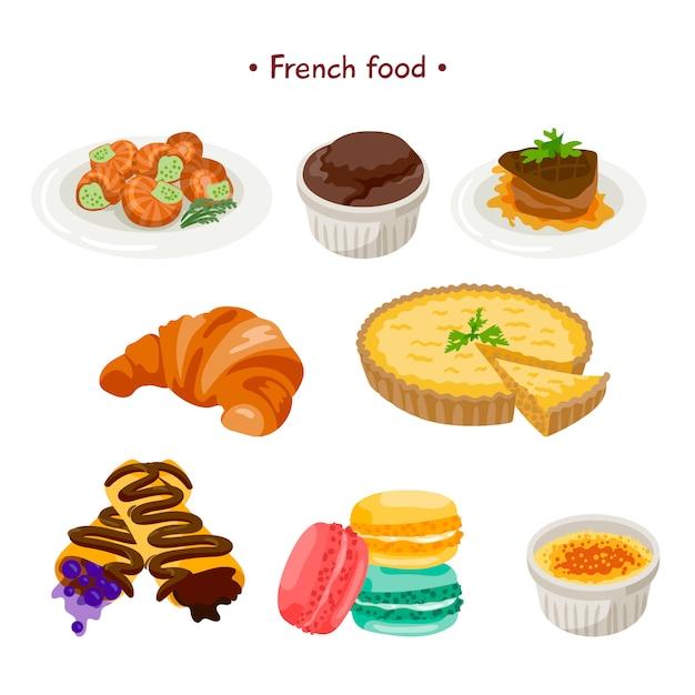Collection de nourriture française Vecteur gratuit