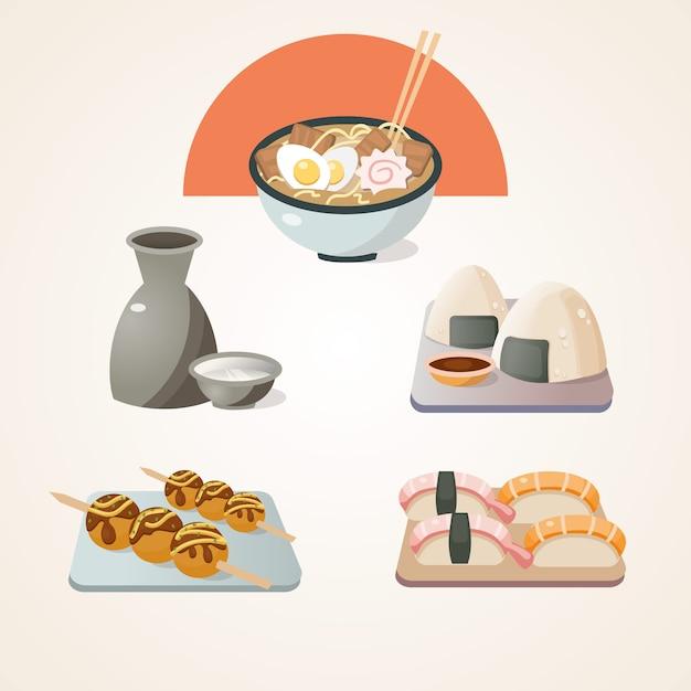 Collection de nourriture japonaise Vecteur gratuit