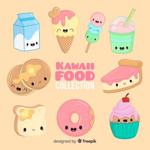 Collection De Nourriture Kawaii Dessinée à La Main Vecteur gratuit
