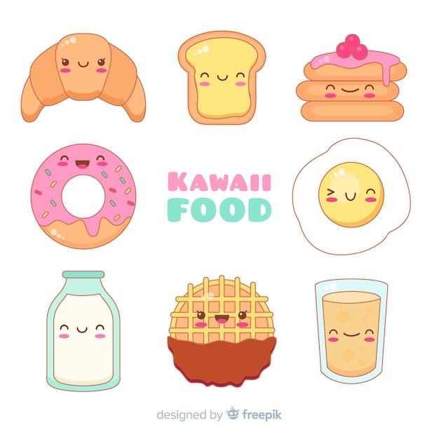 Collection De Nourriture Kawaii Vecteur Premium