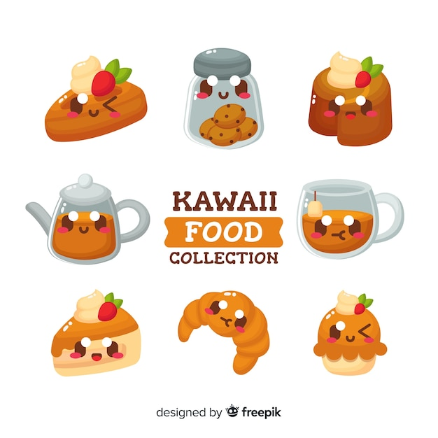 Collection de nourriture kawaii Vecteur gratuit