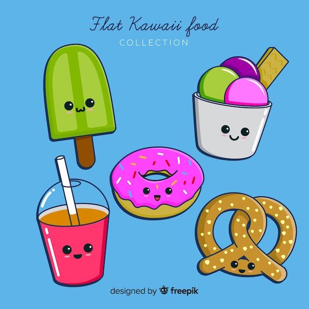 Collection de nourriture kawaii Vecteur gratuit