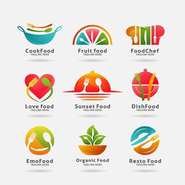 Collection de nourriture et logo du restaurant Vecteur Premium
