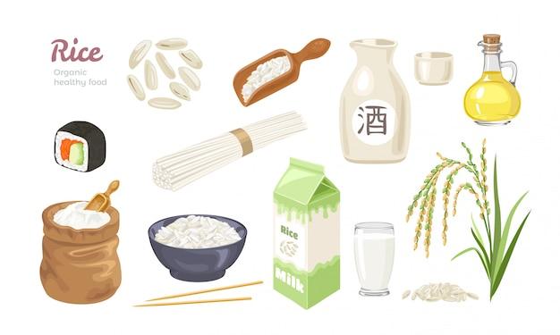 Collection De Nourriture De Riz. Vecteur Premium
