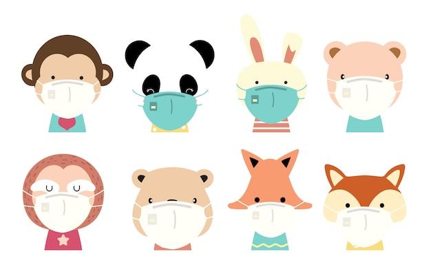 Collection D'objets Animaux Mignons Avec Girafe, Renard, Panda, Singe, Lapin, Paresse, Masque D'usure Ours. Illustration Pour La Prévention De La Propagation Des Bactéries, Des Coronvirus Vecteur Premium