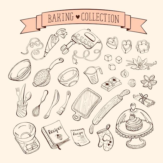 Collection d'objets de cuisson dans le style de griffonnage Vecteur Premium