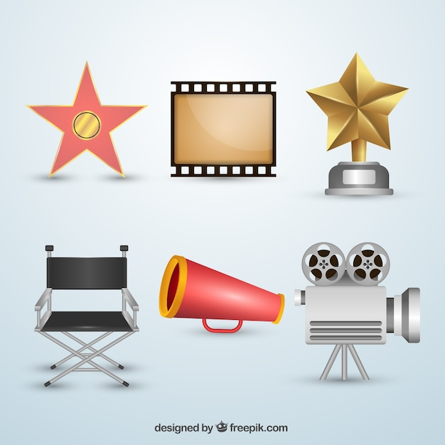 Collection d'objets de film Vecteur gratuit