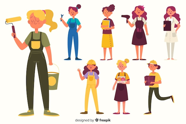 Collection occupation féminine Vecteur gratuit