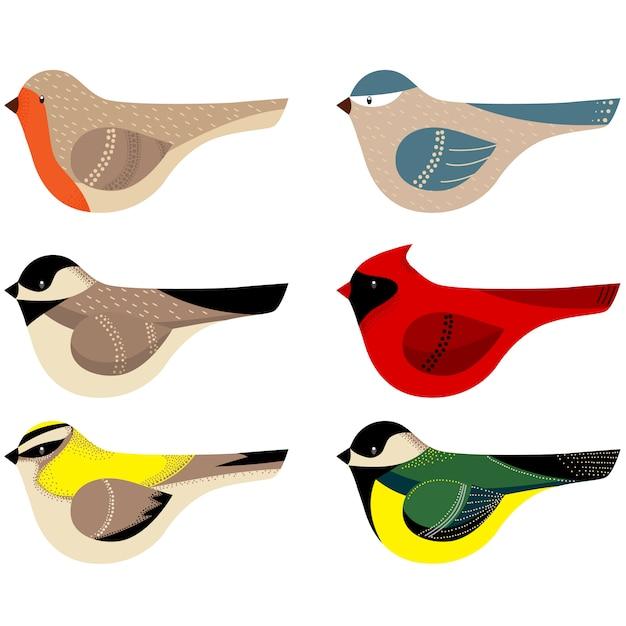 Collection d'oiseaux décorés colorés Vecteur Premium