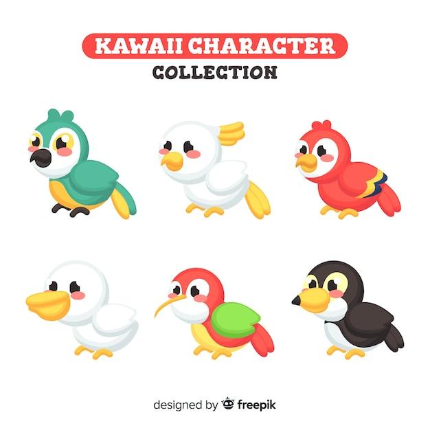 Collection d'oiseaux kawaii Vecteur gratuit