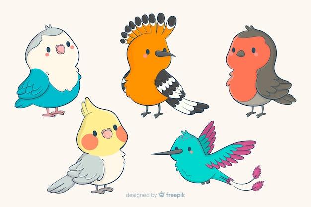 Collection d'oiseaux mignons dessinés à la main Vecteur gratuit