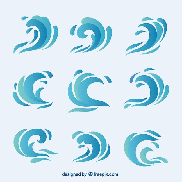 Collection d'ondes abstraites Vecteur gratuit