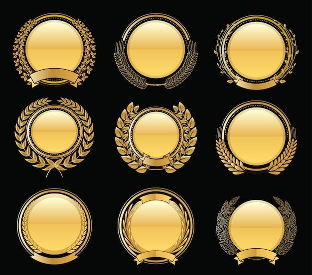 Collection D'or De Luxe Laurel Wreath Wreath Vecteur Premium