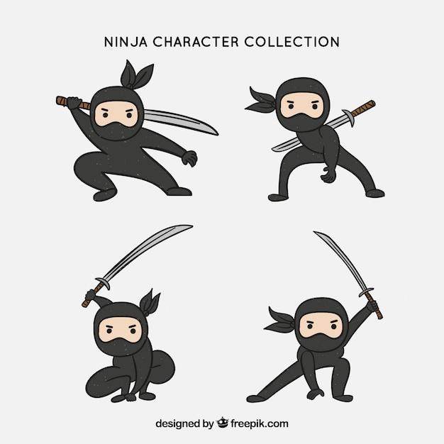 Collection Originale De Caractères Ninja Dessinés à La Main Vecteur gratuit