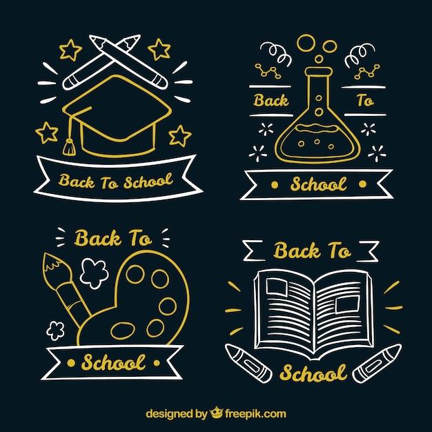 Collection originale d'étiquettes d'école dessinés à la main Vecteur gratuit