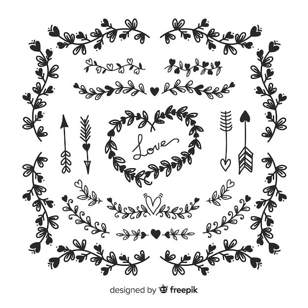 Collection d'ornement au carré mariage dessinés à la main Vecteur gratuit
