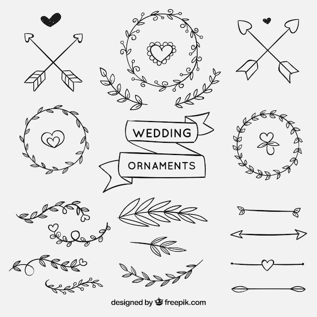 Collection d'ornement mariage dessiné à la main Vecteur gratuit