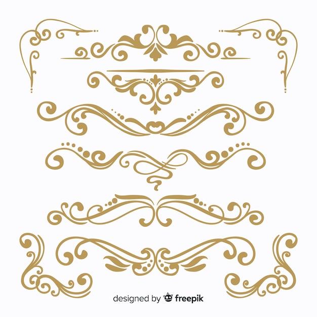 Collection d'ornement de mariage dessiné à la main Vecteur gratuit