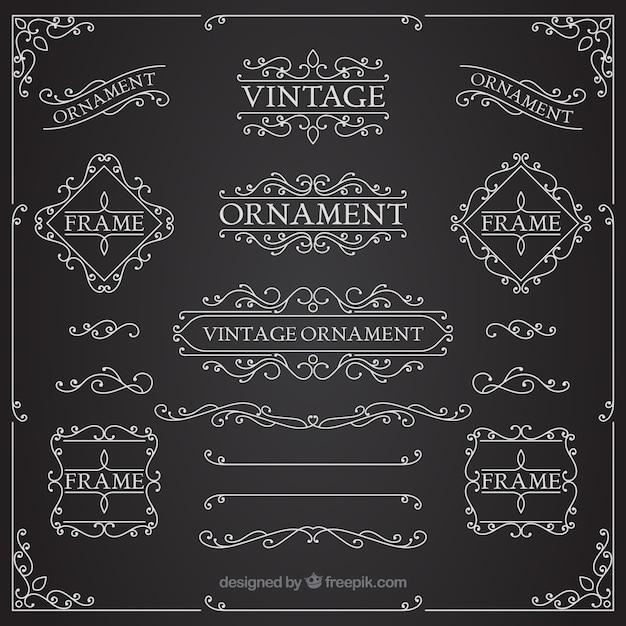 Collection d'ornement vintage avec style tableau noir Vecteur gratuit