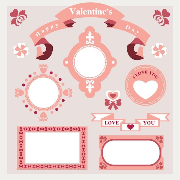 Collection d'ornements d'amour Vecteur Premium