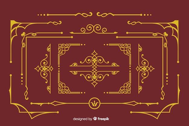 Collection d'ornements de bordure dorée Vecteur gratuit