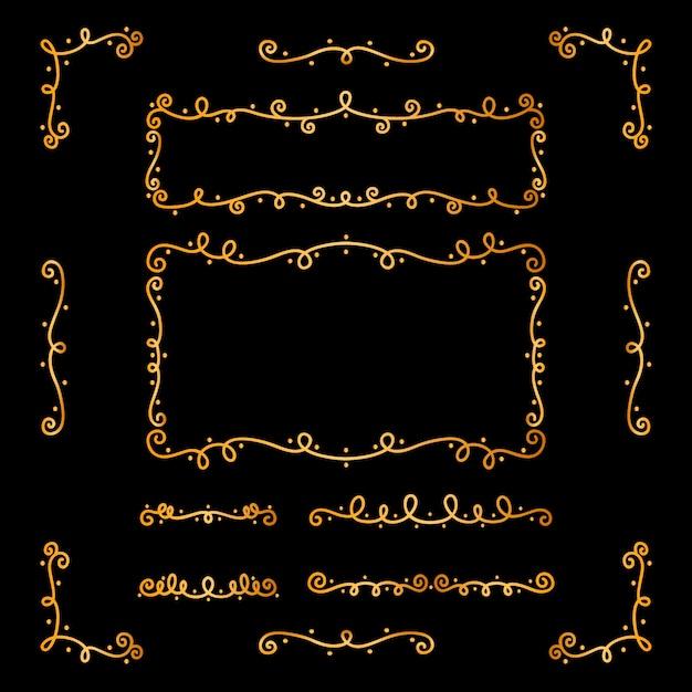 Collection D'ornements Calligraphiques Dorés Vecteur gratuit