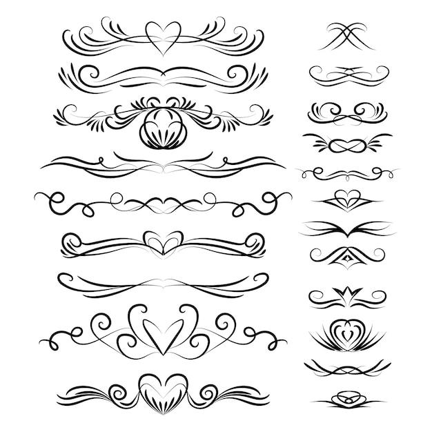 Collection d'ornements calligraphiques de mariage Vecteur gratuit