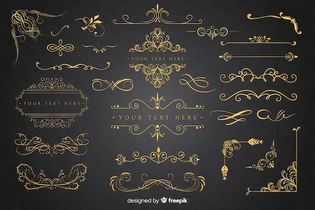 Collection d'ornements dorés Vecteur gratuit