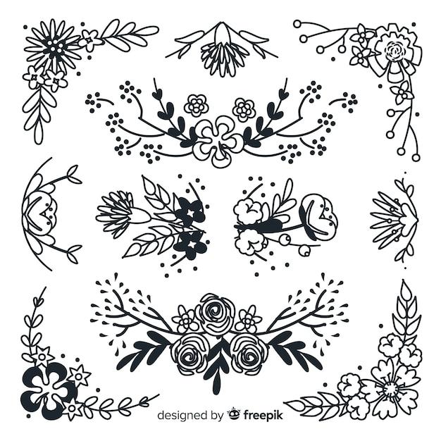Collection d'ornements floraux dessinés à la main Vecteur gratuit