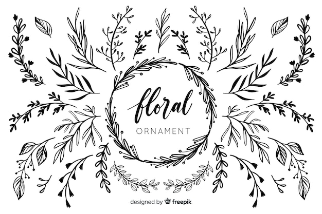 Collection d'ornements floraux dessinés à la main Vecteur gratuit